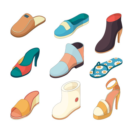 Shoes man woman. Casual clothes boots model slipper shoe from leather vector isometric illustrations. Footwear shoe collection, model fashionable female