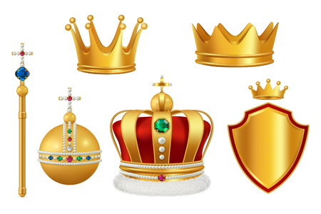 Golden royal symbols. Crown with jewels for knight monarch antique trumpet medieval headgear vector realistic. Illustration of king and monarch golden crown with jewelry stone Illustration