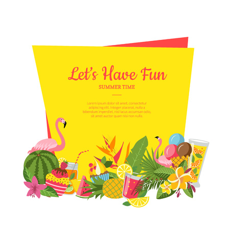 Vector flat cute summer elements, cocktails, flamingo, palm leaves below frame with place for text illustration