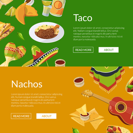 Vector cartoon mexican food web banner templates illustration. Colored poster with food