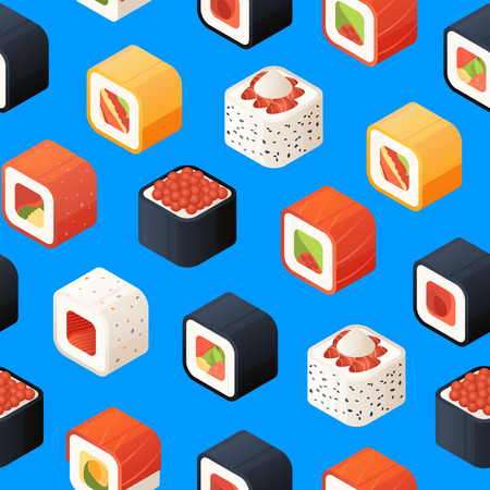 Vector isometric sushi pattern or background illustration. 3d food traditional Illustration