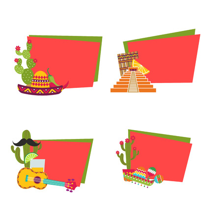 Vector flat Mexico attributes stickers with place for text set illustration