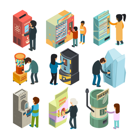 Vending machine isometric. Snack sandwich ice cream coffee water automatic shop people buying fast food and drinks vector 3d pictures. Illustration of vending machine isometric, coffee and food