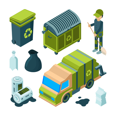 Garbage recycling isometric. City cleaning service truck urban incinerator utility bin with waste vector 3d collection. Illustration of trash and waste, janitor and cargo machine Illustration