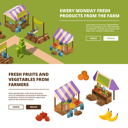 Local farm banners. Outdoor food marketplaces with vegetables meat fish fruits grocery store vector template. Illustration of farm market isometric, fruit and vegetable marketplace