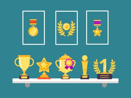 Erfolge im Regal. Wandtrophäe goldene Pokale und Medaillen in Rahmen für Sportsiegvektorkonzeptillustrationen im flachen Stil. Trophäe, Pokalwettbewerb, Siegermedaille Vektorgrafik