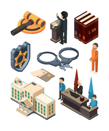 Justice legal isometric. Law hammer books judge lawyer criminal court and other 3d vector symbols isolated. Lawyer and hammer, court and judge illustration