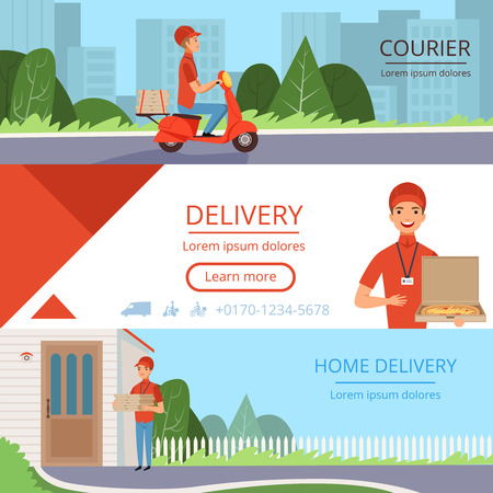 Pizza delivery banners. Fast food courier order moving mail shipping containers industry horizontal vector pictures for web. Illustration of pizza courier delivery, fast service banner