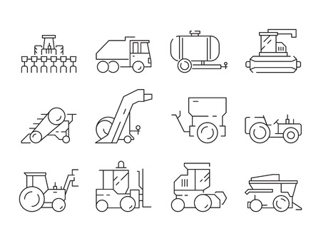 Farm vehicles. Tractor harvester buldozer village heavy machinery construction agriculture vector icons. Illustration of bulldozer and harvesting lorry, haymaking machine