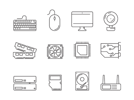 Pc components icons. Processor ssd cpu power adapter ram memory and hdd linear vector symbols isolated. Illustration of ssd and hardware, cpu processor Stock Photo