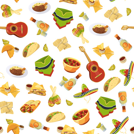 Vector colored cartoon mexican food flat style pattern or background illustration