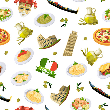 Vector cartoon italian cuisine elements pattern or background illustration. Traditional meal and food