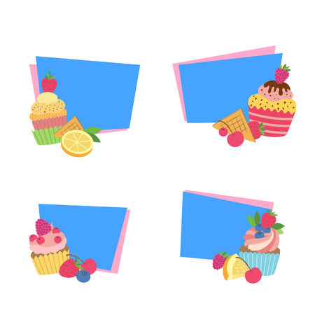 Vector cute cartoon muffins or cupcakes stickers isolated on white background Stock Photo