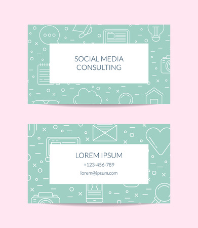 Vector Line Blog Icons Business Card Template For Social Media