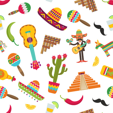 Vector flat colored mexico attributes set pattern or background illustration Stock Photo