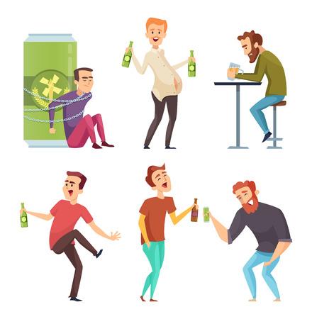 Caractère alcoolique. Abus et toxicomanie et illustrations vectorielles de dessins animés d'alcool. Alcoolisme avec de la bière en bouteille, dépendance à l'alcool Vecteurs