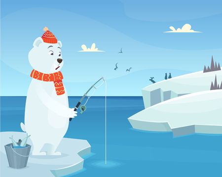 White bear background. Iceberg ice winter animal standing vector character in cartoon style. Bear catch fish, animal cartoon fishing illustration Vettoriali