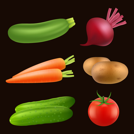 Vegetables food realistic. Fresh vegan healthy agriculture products vector pictures isolated. Illustration of vegetable ripe, onion and carrot
