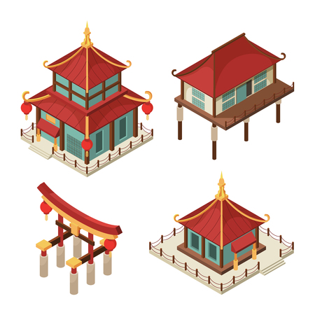 Asian buildings isometric. Chinese gate traditional japanese houses pagoda roof shintoism vector 3d architecture pictures. Illustration of pagoda, japan and chinese building