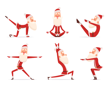 Santa yoga relax. Winter cute healthy christmas holiday santa claus outdoor doing sport yoga exercises vector characters. Claus yoga to christmas and new year illustration  イラスト・ベクター素材