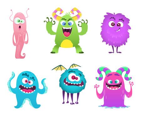 Mascota de monstruos. Peludo lindo gremlin troll bizarros juguetes divertidos personajes de dibujos animados vectoriales aislados. Carácter aterrador y divertido, alegre monstruo duende. Ilustración vectorial