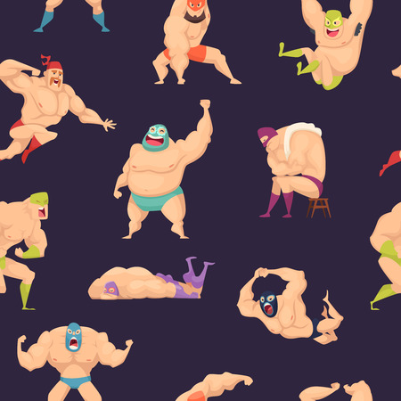 Libre wrestlers pattern. Martial mexican fighters in mask luchador superstar vector seamless background. Wrestler fight background, costume and mask, wrestling lucha fighter