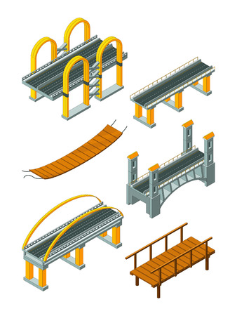 Viaduct bridge isometric. Wood support crossing river or highway logging industry vector urban landscape. 3d bridge and viaduct isometric, 3d building construction for road illustration Banco de Imagens