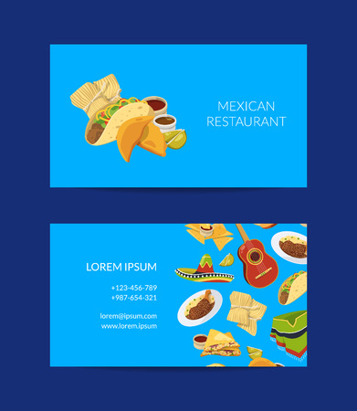 Vector cartoon mexican food business card template for mexican cuisine restaurant or cafe illustration Illustration