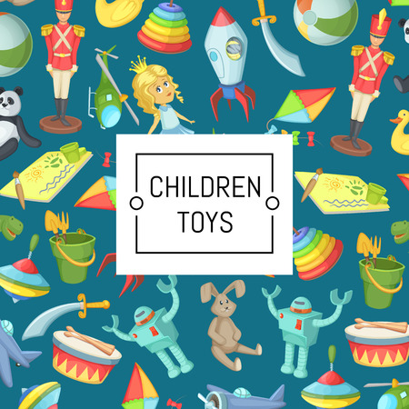 Vector cartoon children toys background with place for text illustration. Web poster and page
