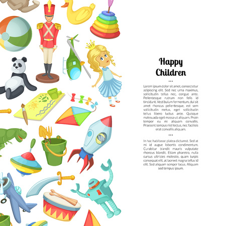 Vector cartoon children toys background with place for text illustration. Web page and website Vecteurs