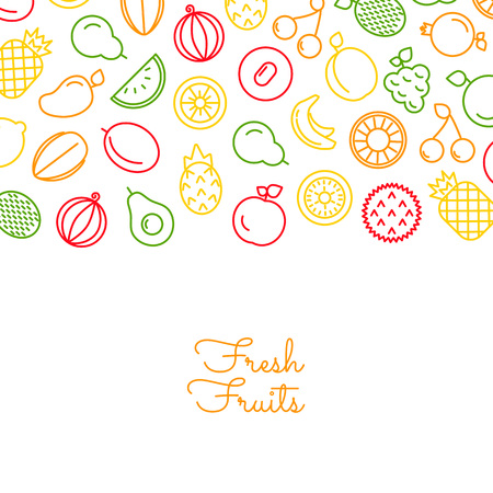 Vector color line fruits icons background on white with place for text illustration