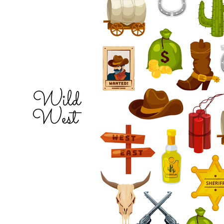 Vector cartoon wild west elements background with place for text illustration. Sheriff star and hat