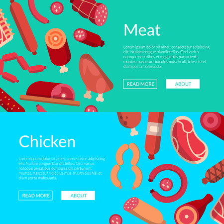 Vector flat meat and sausages icons web banner templates and poster illustration