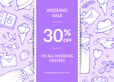 Vector doodle wedding elements sale poster or background with ribbon and shadows illustration