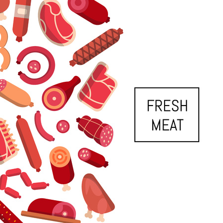 Vector flat meat and sausages icons background with place for text illustration. Banner and poster