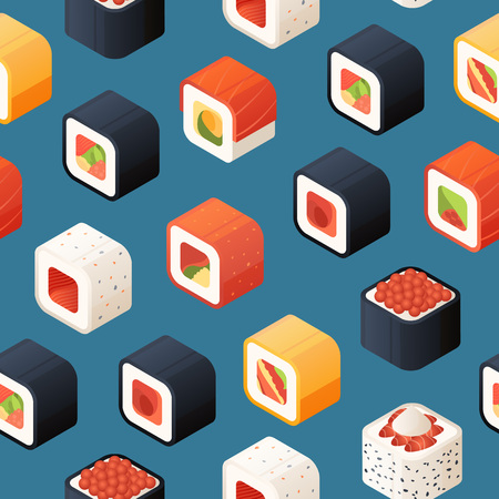 Vector isometric sushi pattern or background illustration. Colored pattern food
