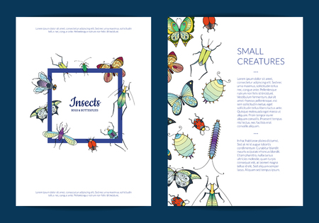 Banner and poster vector hand drawn insects card or flyer template illustration