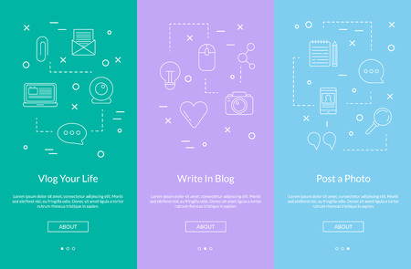 Vector line blog icons smartphone slideshow or web page template illustration