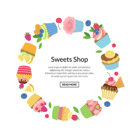 Vector cute cartoon muffins or cupcakes in circle shape with place for text illustration isolate on white