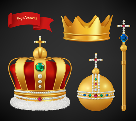 Royal crowns. Luxury premium medieval gold symbols of monarchy scepter antique diadem diamonds and jewels vector realistic pictures. Royal medieval golden crown, monarchy authority symbol illustration Vecteurs