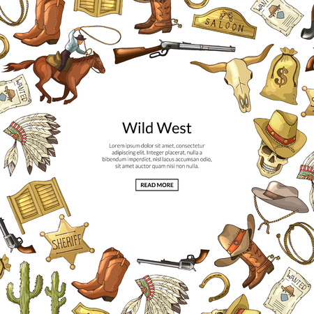 Vector hand drawn wild west cowboy elements background with place for text illustration. Western background and wild american west, horseshoe and indian headdress feathers Illustration