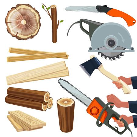 Wood materials. Wooden production and cut woodworking equipment cutting tools forestry pile vector isolated pictures. Instrument in hand hold, holding sawmill equipment illustration Ilustrace