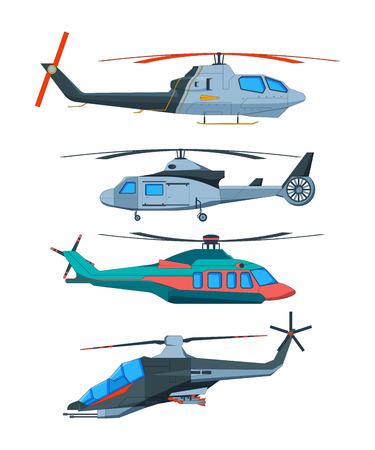 Cartoon avia transport. Various helicopters isolate. Collection of helicopters transport air. Vector illustration