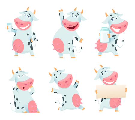 Milk cow animal. Cartoon farm character eating and posing cows mascots isolated. Illustration of farm animal cow cartoon, domestic character farming Illustration