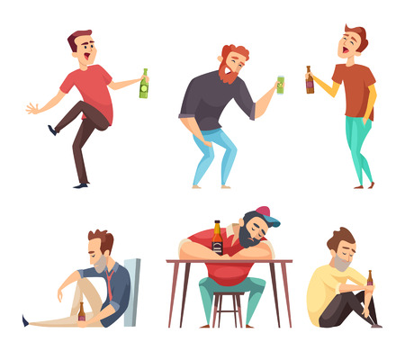 Addiction alcoholic. Addict peoples alcoholism and drugs drinking person beer vodka whiskey abuse vector characters isolated. Alcoholic man addict, person with drink illustration
