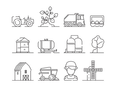 Agricultural icon. Industrial farming machine village nature field farm landscape and buildings vector symbols. Machine harvester and farmer, industrial agricultural building illustration