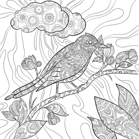 Coloring pages bird. Wild flying animal in sitting on branch vector nature floral pattern line illustrations. Wildlife bird nature drawing sit on branch tree