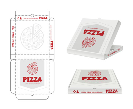 Pizza box design. Unwrap fastfood pizza package realistic template business identity vector. Pizza box, package brand restaurant illustration Illustration