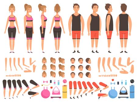 Animación de personas deportivas. Kit de creación de vectores de partes del cuerpo de mascotas de entrenamiento masculino y femenino de fitness Ilustración de cuerpo de niña y niño de personas, creación de entrenador hombre y mujer física fuerte Ilustración de vector