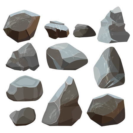Stones cartoon. Rock mountains flagstone rocky vector illustrations isolated on white background. Stone rock of set, material granite natural Ilustração Vetorial